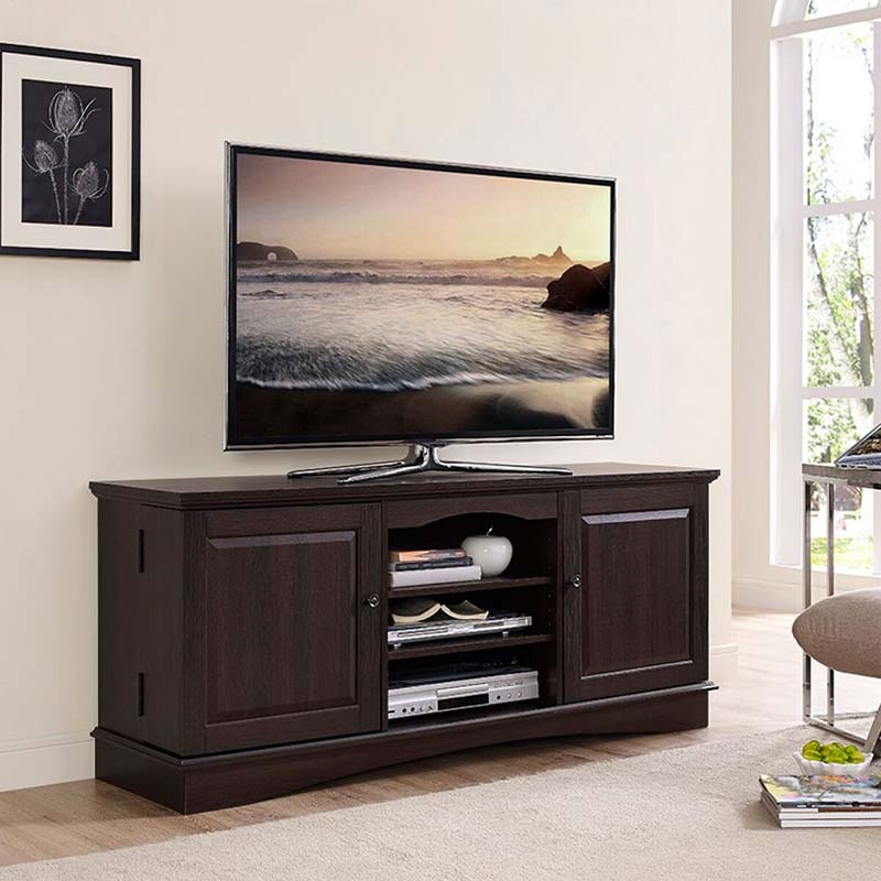 walker edison 65 inch tv console with media storage espresso wq60c73es. Black Bedroom Furniture Sets. Home Design Ideas