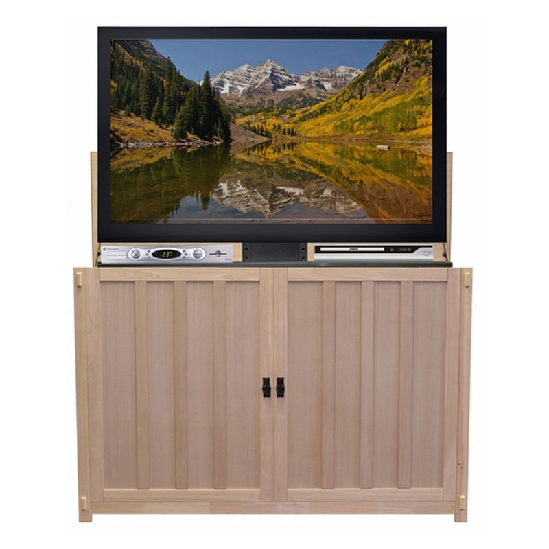 touchstone grand elevate mission tv lift cabinet for 60 inch screens unfinished oak 74106. Black Bedroom Furniture Sets. Home Design Ideas