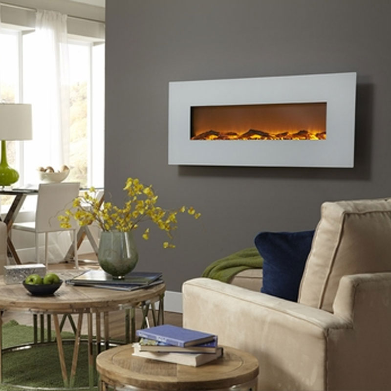Touchstone 80002 Ivory 50 inch Electric Wall Mounted Fireplace is a beautiful wall mounted electric fireplace with realistic flames and contemporary white frame. All electric fireplaces ship free!