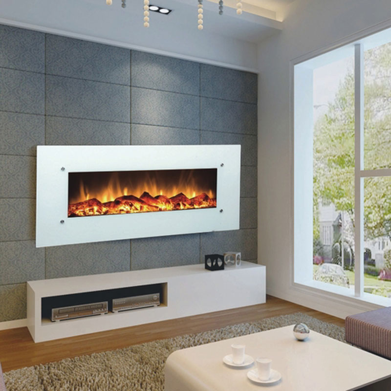 Touchstone ivory 50 inch electric wall mounted fireplace for Fireplace wall