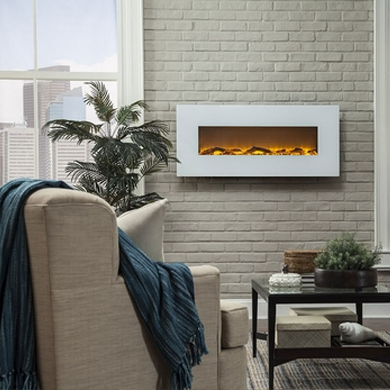 Touchstone Ivory 50 inch Electric Wall Mounted Fireplace (White) 80002 - Touchstone Ivory 50 Inch Electric Wall Mounted Fireplace White 80002