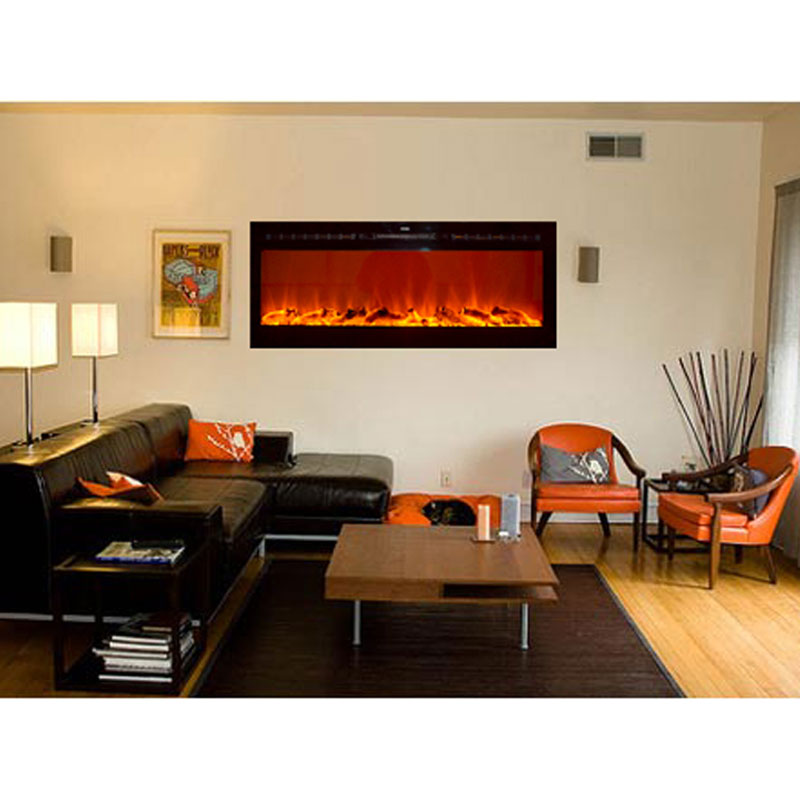 Touchstone Sideline 50 inch Wall Mounted Recessed Electric Fireplace  (Black) 80004 - Touchstone Sideline 50 Inch Wall Mounted Recessed Electric