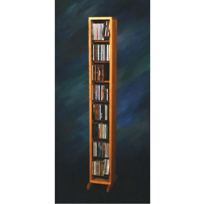 Wood shed solid oak dowel space saver cd rack oak finish tws 806 - Cd storage rack tower ...