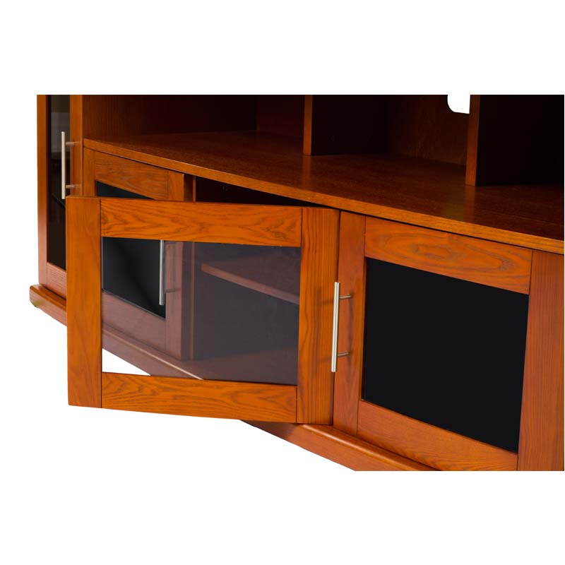 plateau newport series corner wood tv cabinet with glass doors for 90 inch screens black or