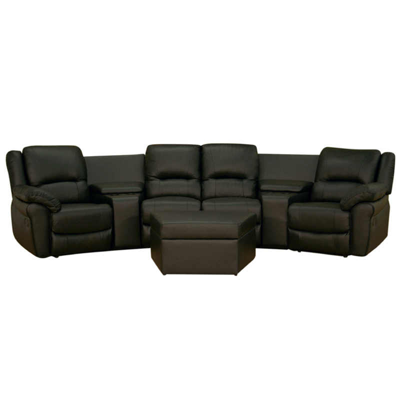 Wholesale Interiors Four Seat Curved Leather Home Theater