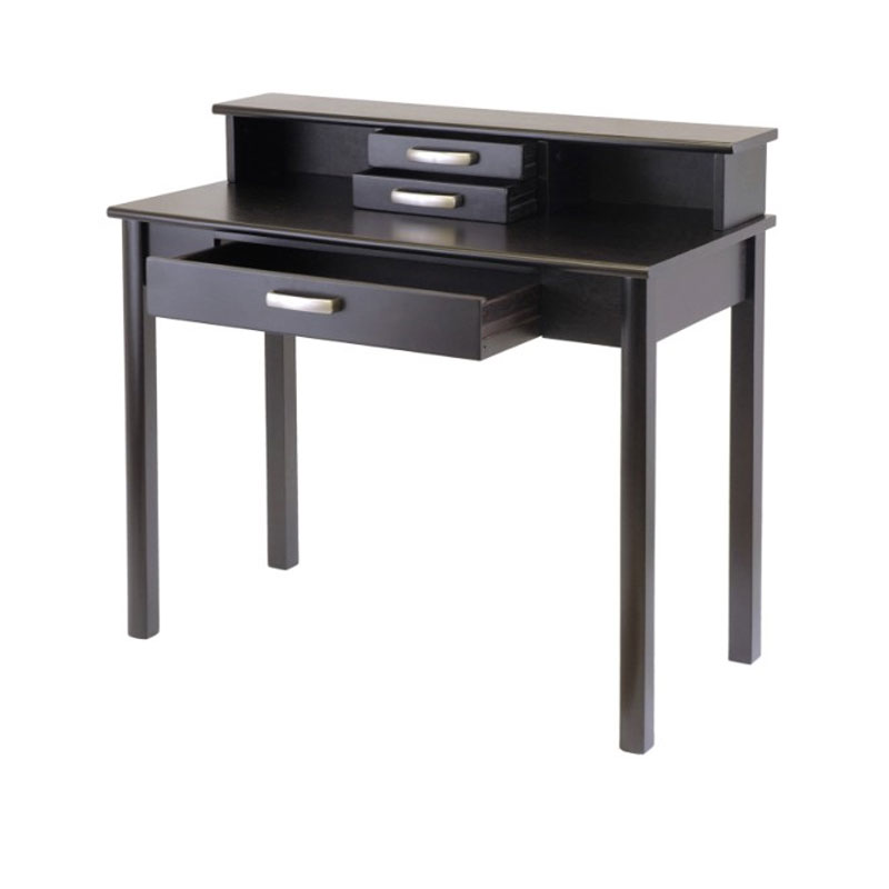 espresso writing desk The kidkraft pinboard 31 writing desk with hutch and chair is the ideal piece of furniture for your child's room it has a traditional style that adds a touch of sophistication to the room's decor it is made from mdf, which makes it durable and helps it last longer.