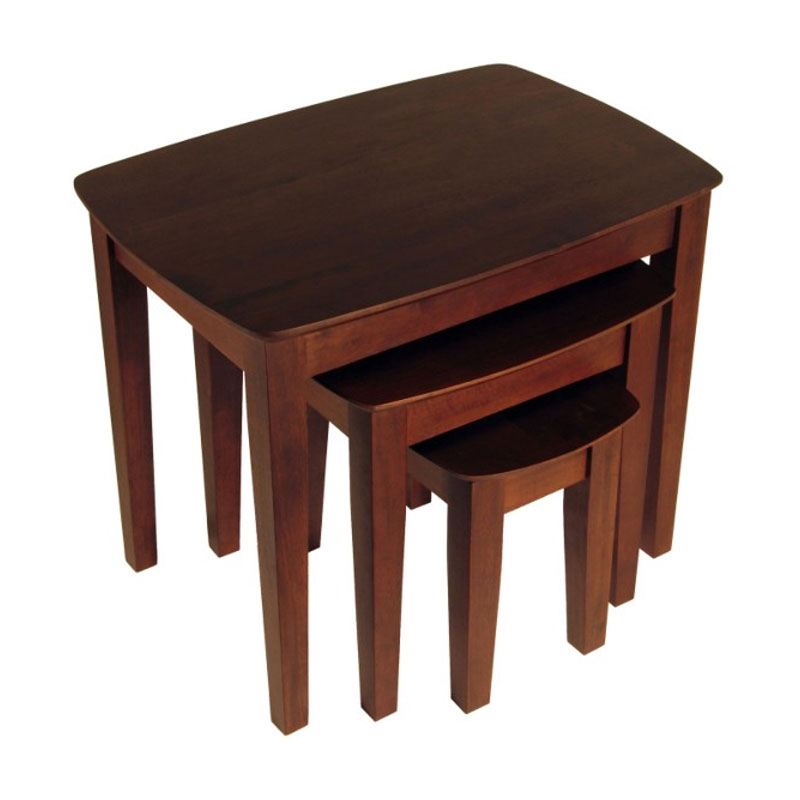 Antique Wood Nesting Tables Set Of 3 ~ Winsome wood piece nesting table set antique walnut