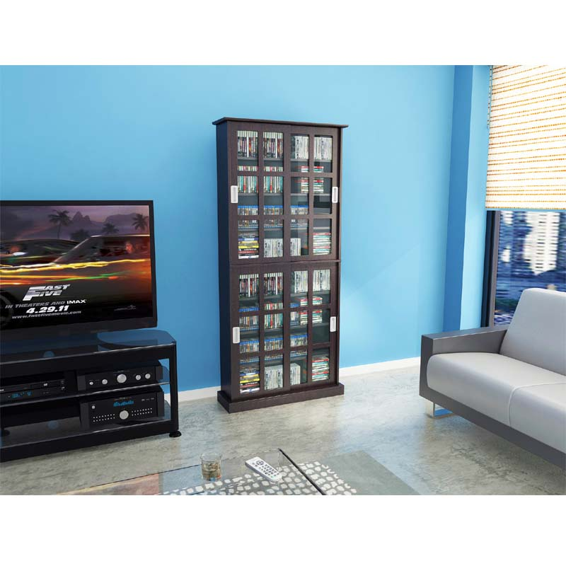 Atlantic Windowpane Media Cabinet with Sliding Glass Doors ...