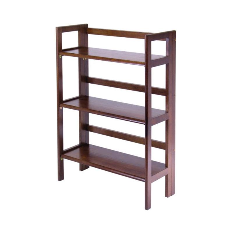 winsome wood 3 tier folding shelf walnut finish 94896
