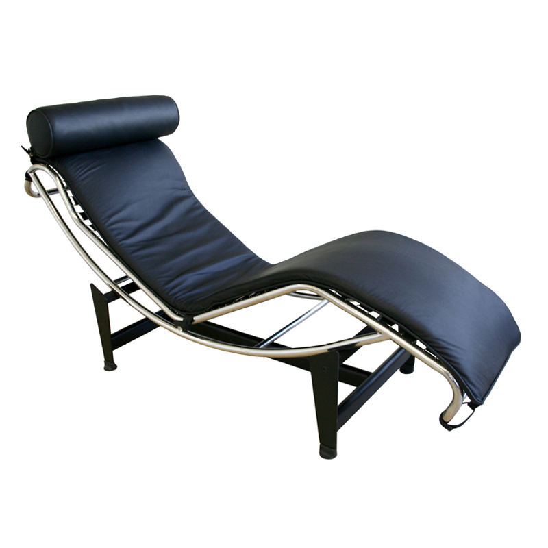 Wholesale interiors le corbusier leather chaise lounge for Black leather chaise longue