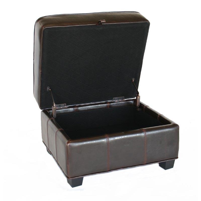 wholesale interiors bicast leather storage ottoman black a. Black Bedroom Furniture Sets. Home Design Ideas