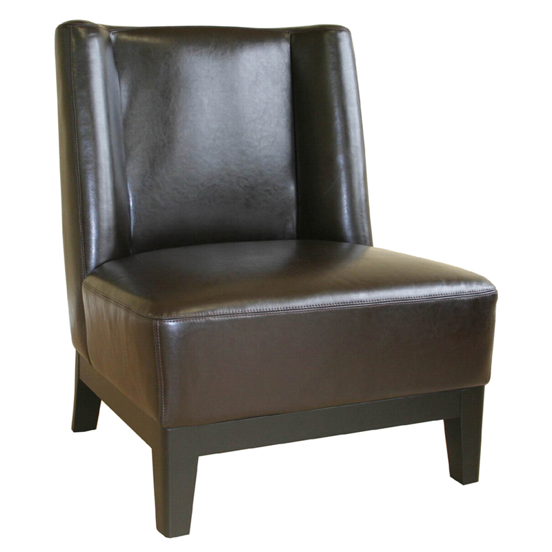 Wholesale interiors low slung dark brown bicast leather for Cheap leather chairs