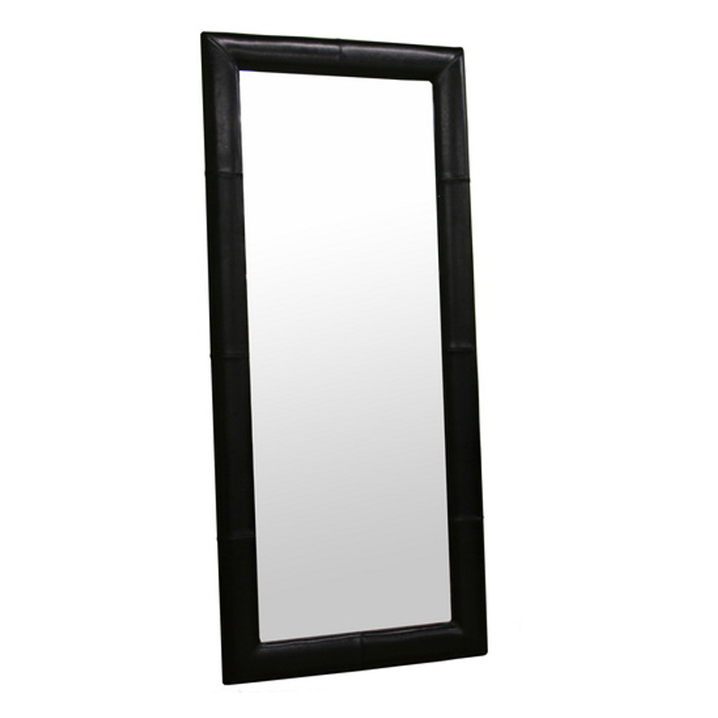 Wholesale interiors floor mirror with bycast leather frame for Black framed floor mirror