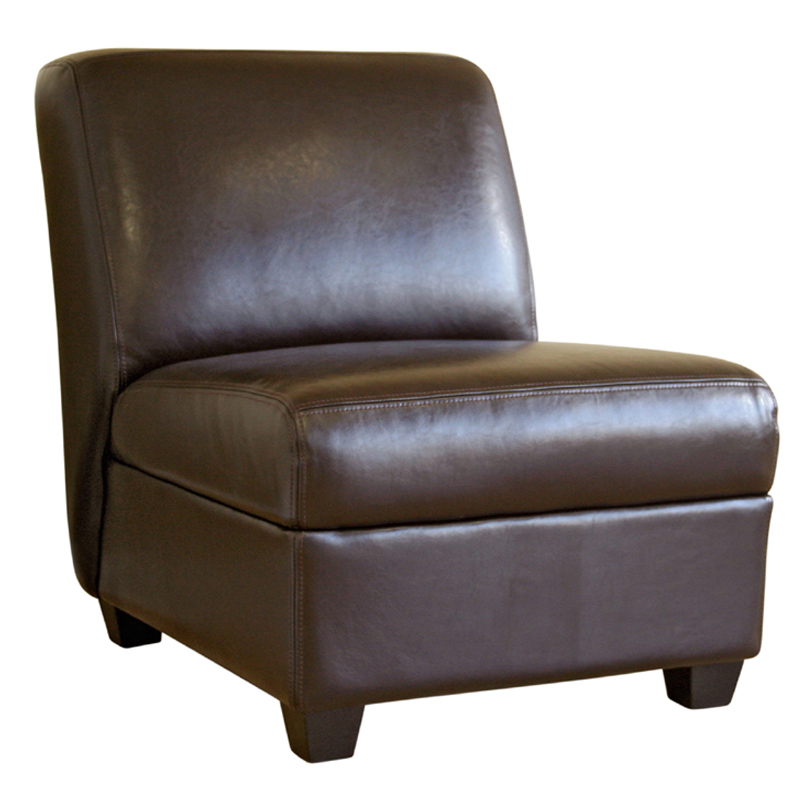 Wholesale Interiors Full Leather Armless Club Chair Dark