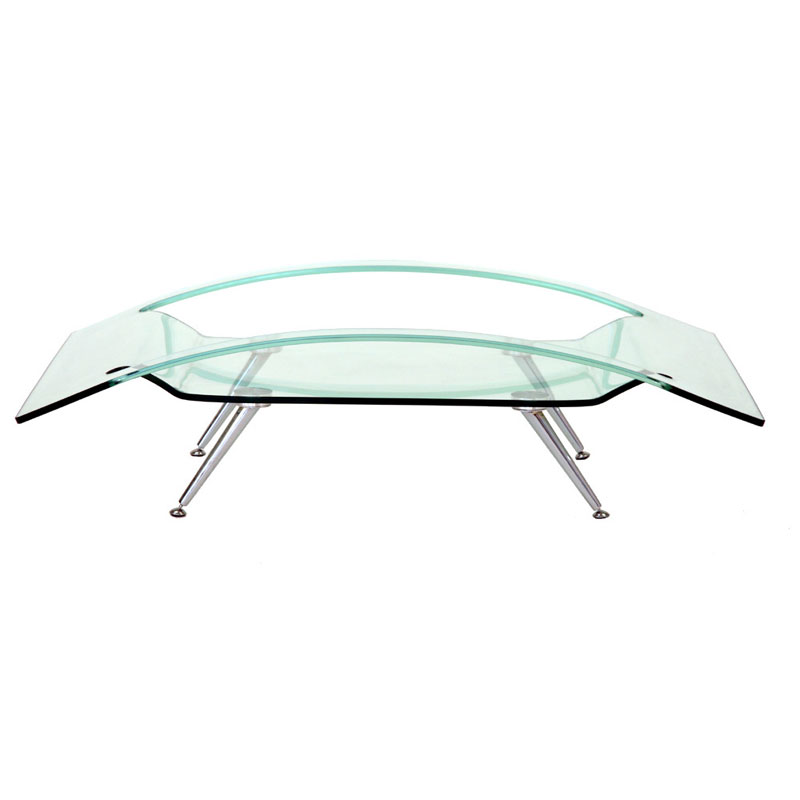 Transdeco clear bend glass living room coffee table ac 5631a Clear coffee table
