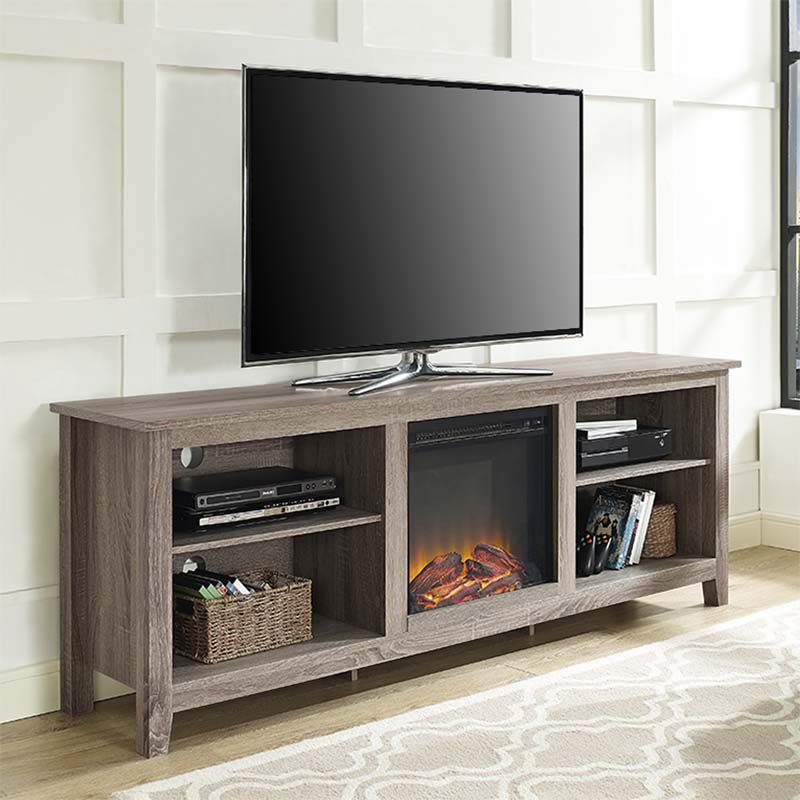 Walker Edison 70 Inch Tv Stand With Electric Fireplace Ash