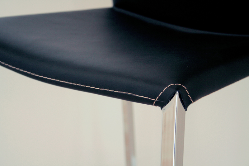 Wholesale interiors set of two leather bar stools black for Interior leather bar