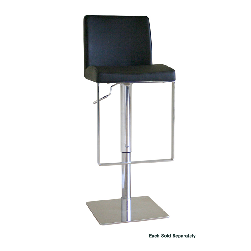 Wholesale Interiors Cognac Dark Brown Leather Bar Stool: Wholesale Interiors Dallas Leather Bar Stool Black ALC-2213A