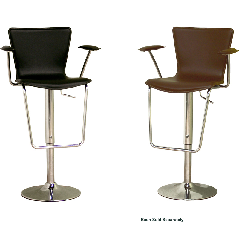 Wholesale Interiors Cognac Dark Brown Leather Bar Stool: Wholesale Interiors Adjustable Bonded Leather Bar Stool