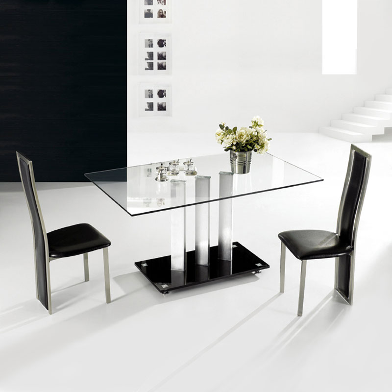 TransDeco Rectangular Clear Glass Dining Table With Black Glass Base