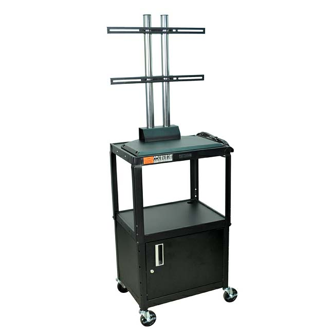 Luxor Adjustable Height Metal Cart With Flat Panel Mount And Locking Cabinet Various Colors