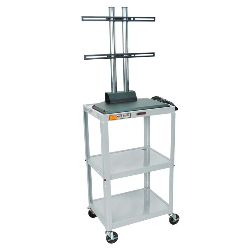 Luxor Adjustable Height Metal Cart With Flat Panel Mount Various Colors Avj42 Lcd
