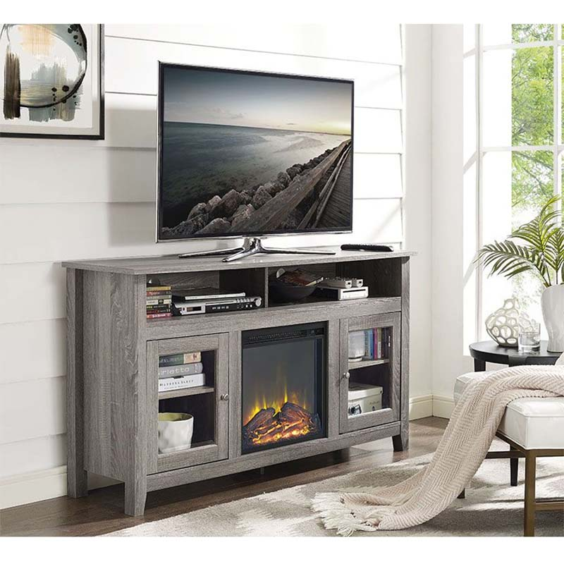 Walker Edison Highboy Fireplace Tv Stand For 60 Inch Screens Driftwood W58fp18hbag