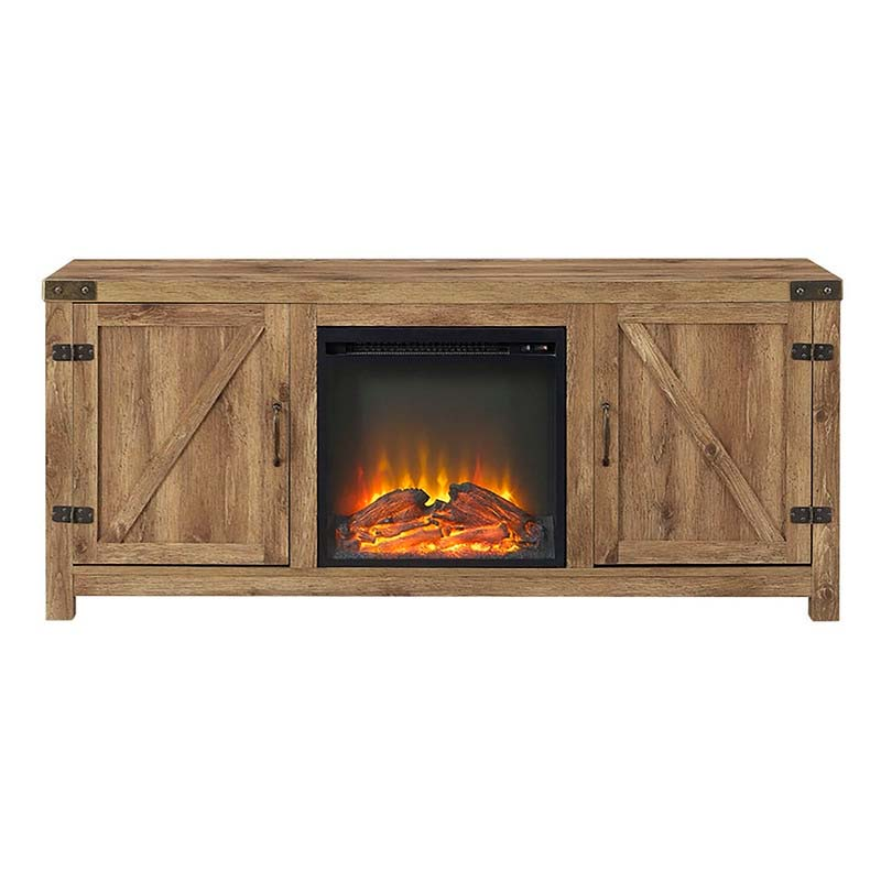Walker Edison Barn Door Tv Stand With Electric Fireplace