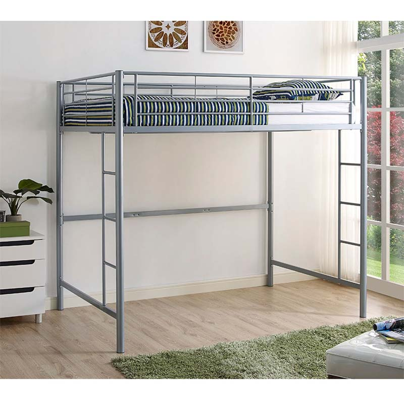 walker edison steel full size loft bed silver bdolsl. Black Bedroom Furniture Sets. Home Design Ideas