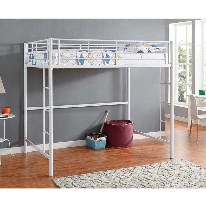 Walker Edison Steel Full Size Loft Bed White Bdolwh