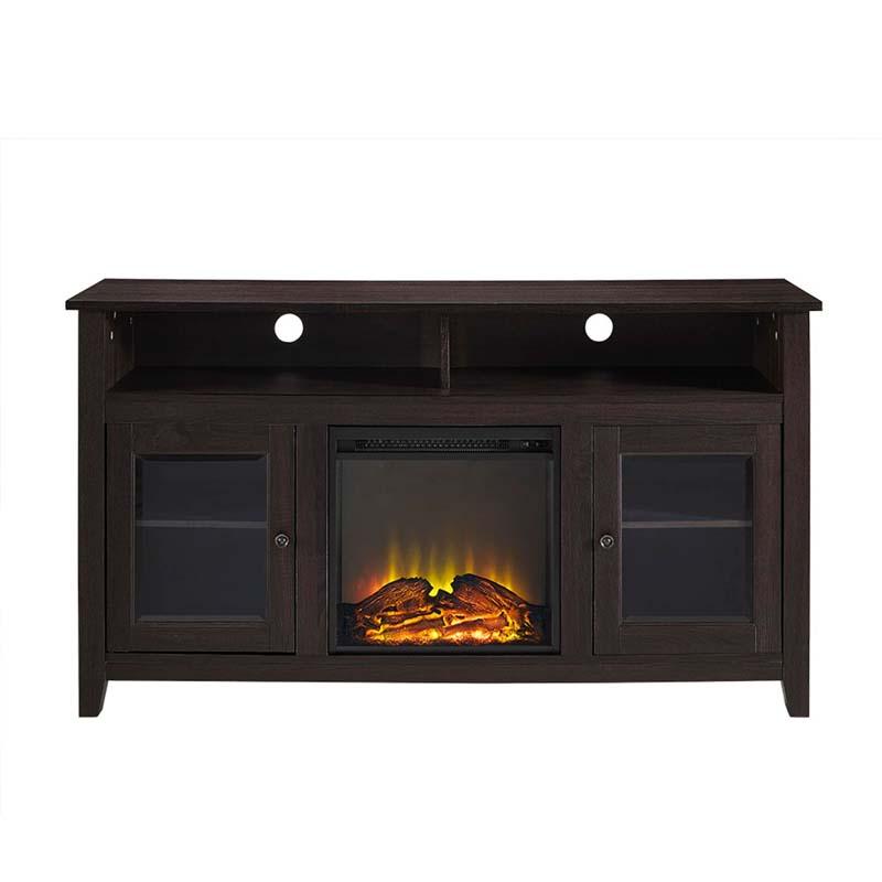 walker edison highboy fireplace tv stand for 60 inch screens espresso w58fp18hbes. Black Bedroom Furniture Sets. Home Design Ideas