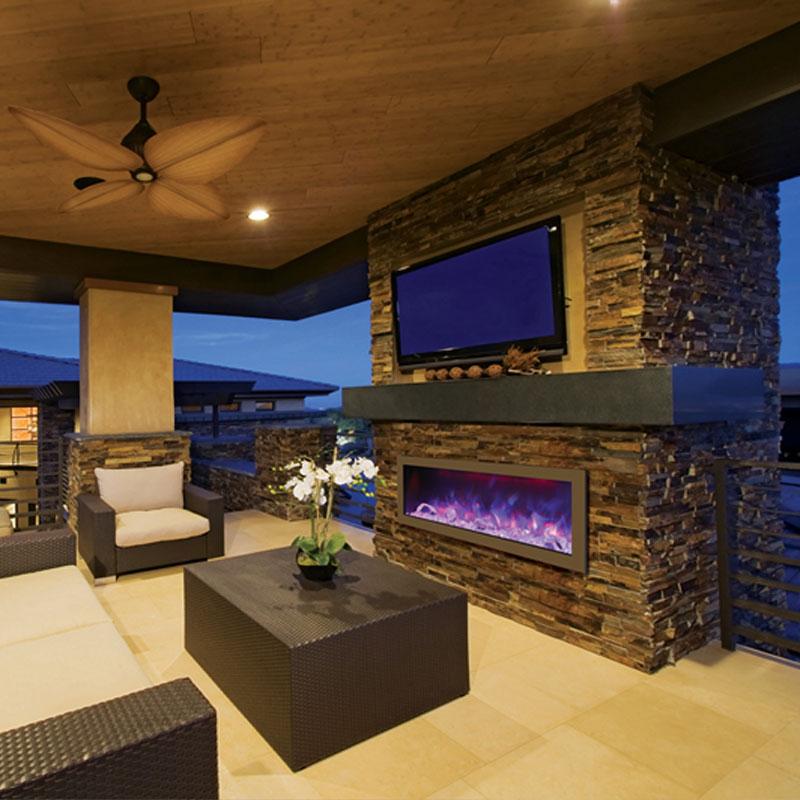 Amantii Bi 50 Slim Panorama 50 Inch Indoor Outdoor Electric Fireplace