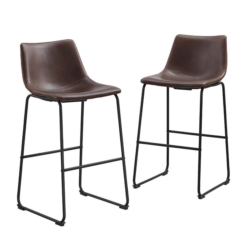 Walker Edison Faux Leather Bar Stools Brown Set Of 2 Chl30br