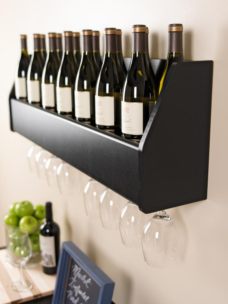 prepac wall mounted floating wine rack black bsow 0200 1. Black Bedroom Furniture Sets. Home Design Ideas