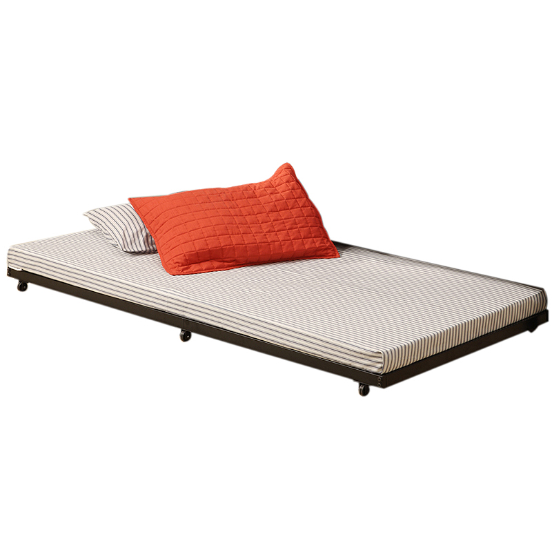 Walker edison twin roll out trundle bed frame black bt40tbbl for Twin mattress and frame