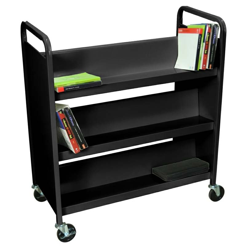 Luxor 2 Sided Steel Rolling Library Book Cart Black Or