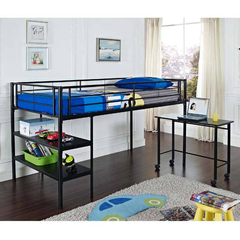 walker edison metal twin low loft bed with desk and shelves black