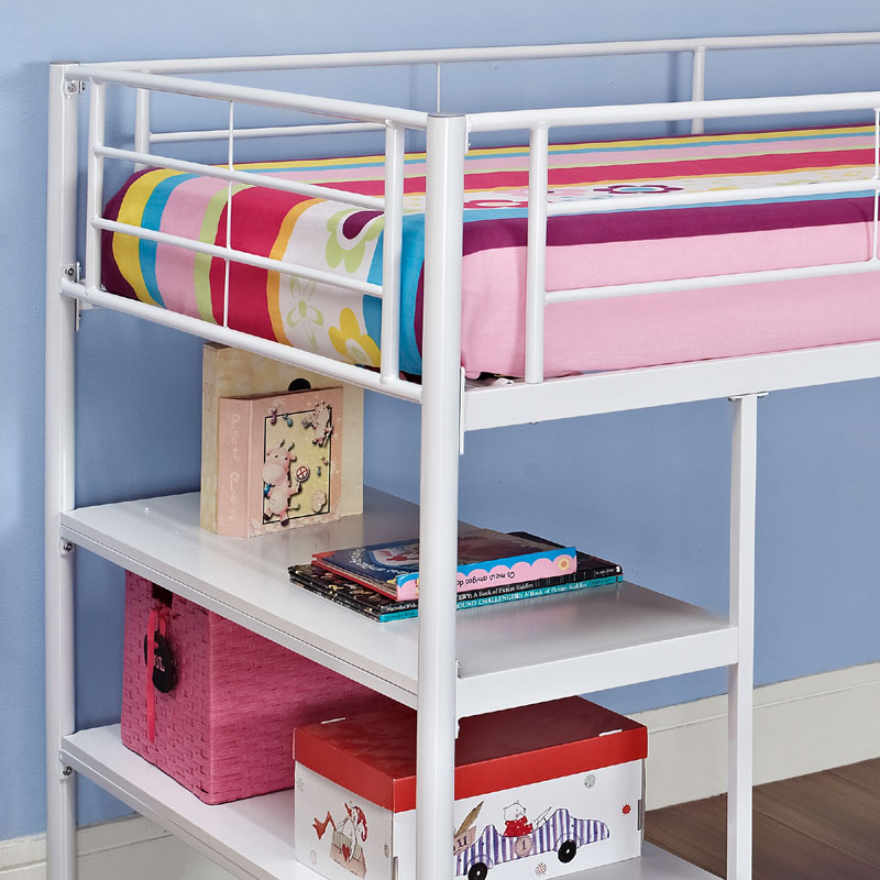 walker edison metal twin low loft bed with desk and shelves white