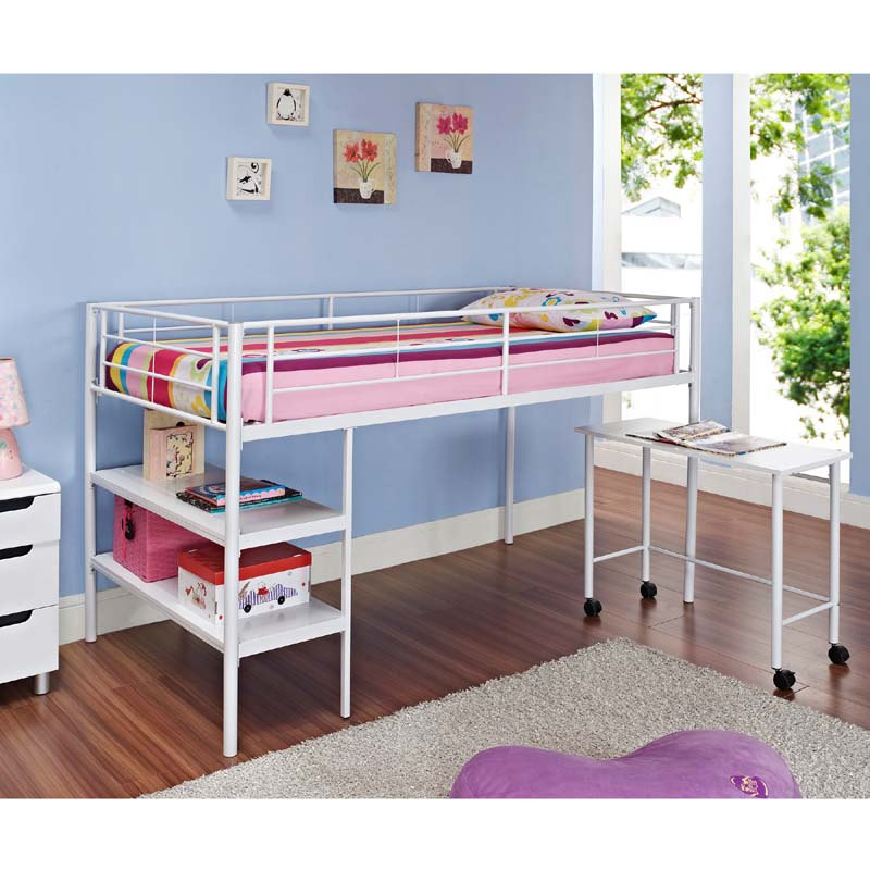 Walker edison metal twin low loft bed with desk and Kids loft bed with desk