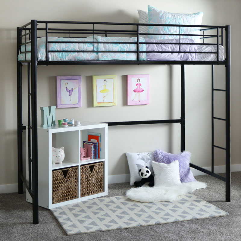 view a larger image of the walker edison steel twin size loft bed black