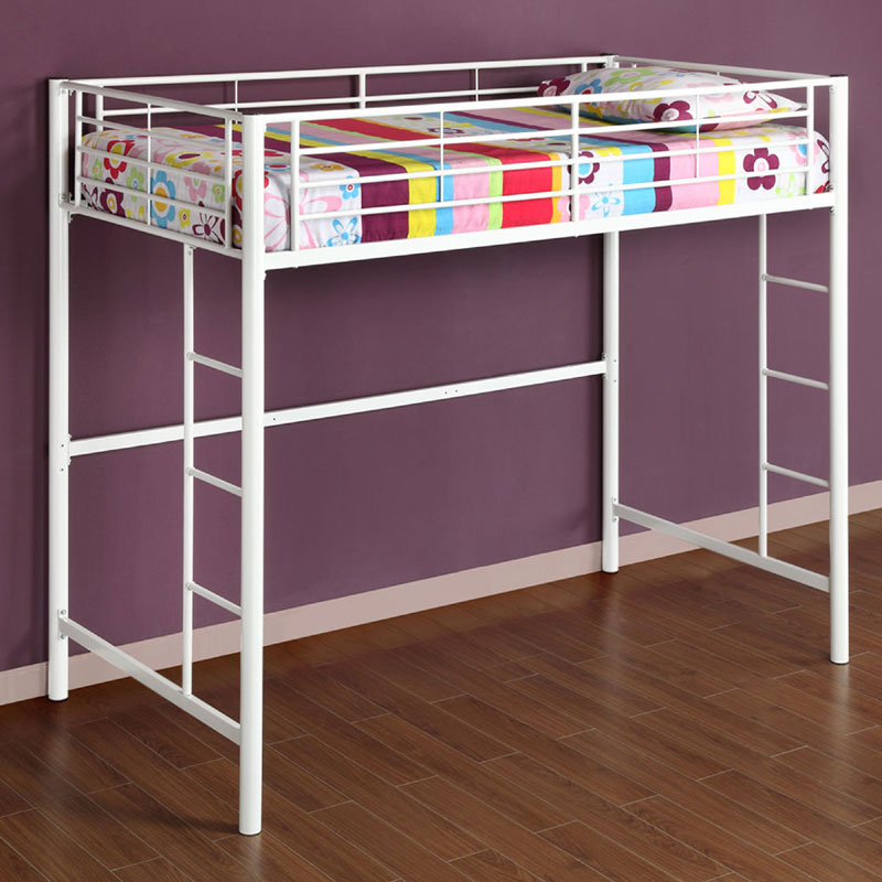 Walker edison steel twin size loft bed white btolwh for White twin bunk beds