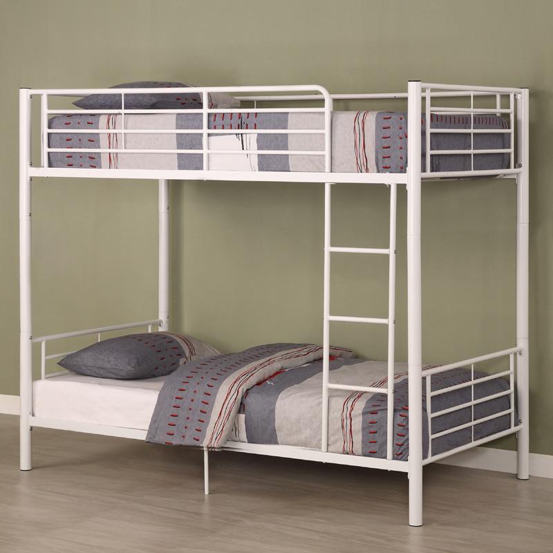 Walker edison sunrise steel frame bunkbed twin twin white for White bunk bed frame