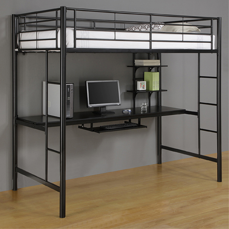 Walker Edison Metal Twin Loft Bed With Computer