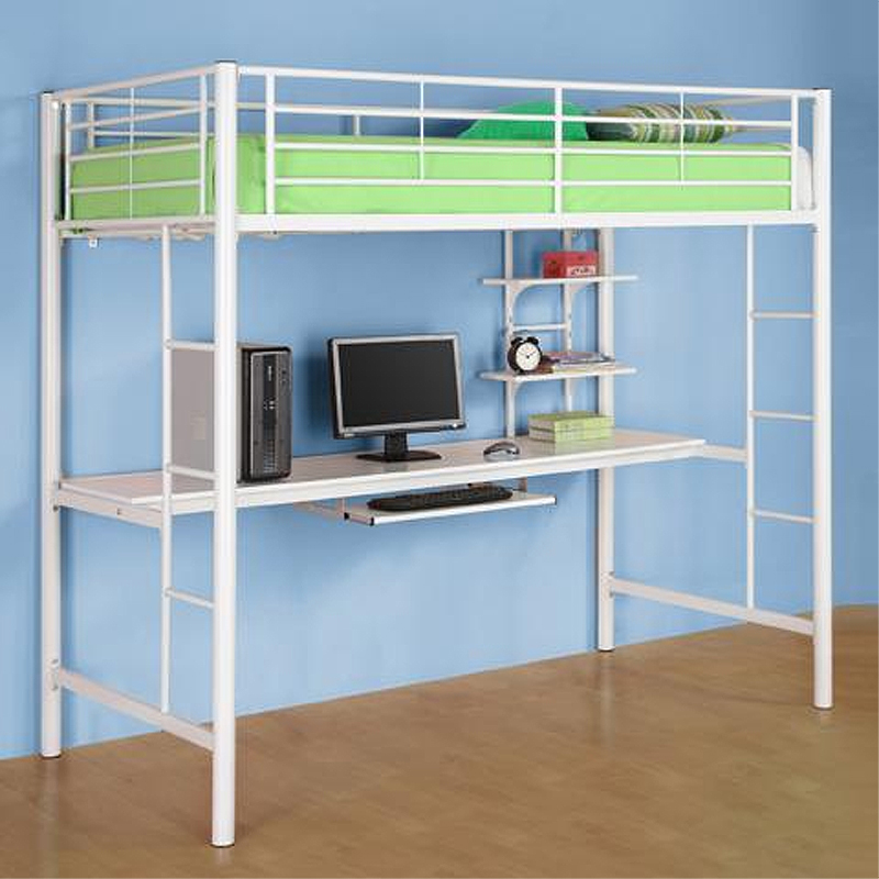 walker edison metal twin loft bed with computer workstation white