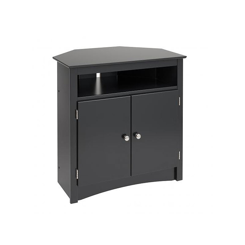 prepac sonoma collection tall corner tv cabinet for screens up to 32 inches black btv3232