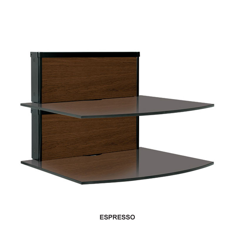 Bello two shelf component wall system multiple finish inserts