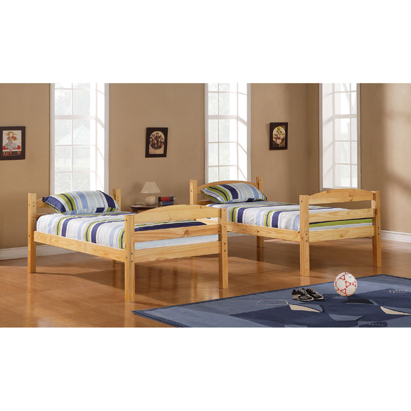 Walker Edison Solid Wood Twin Size Bunk Bed Natural Bwstotnl