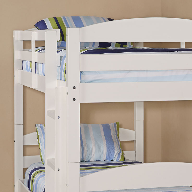 Walker edison solid wood twin size bunk bed white bwstotwh for Unfinished loft bed