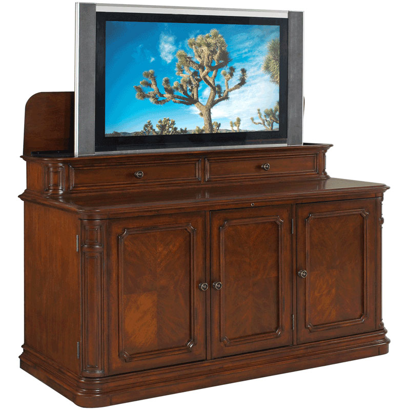 tv lift cabinet banyan creek lift for 40 60 inch screens stained at004310. Black Bedroom Furniture Sets. Home Design Ideas