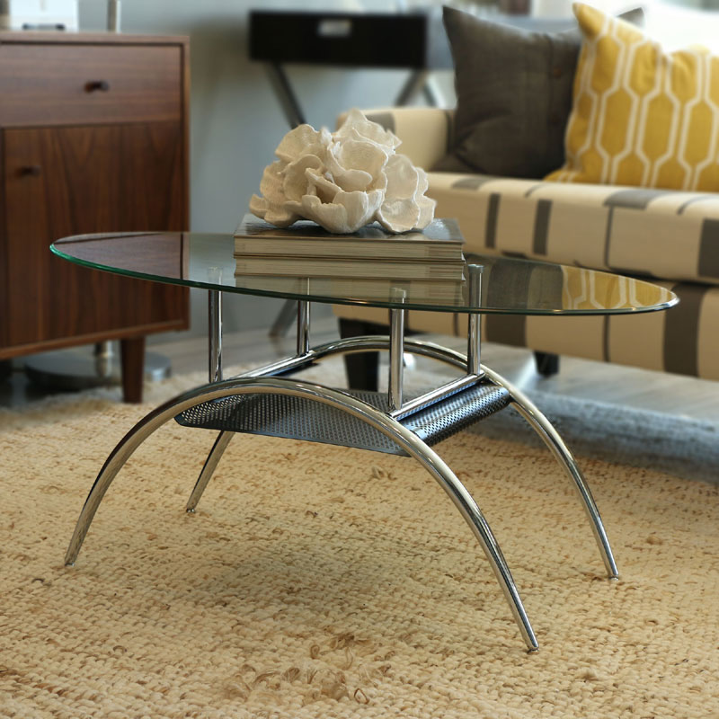 Oval Coffee Table Design: Walker Edison Black Mesh And Clear Glass Oval Living Room